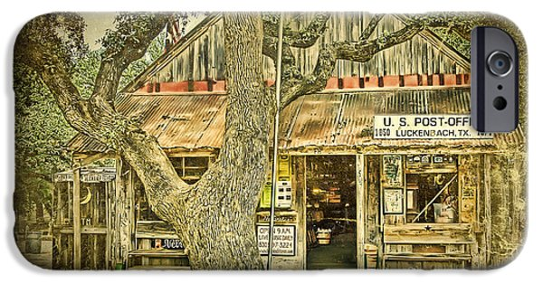 Saloons iPhone Cases - Luckenbach Aged iPhone Case by Scott Norris