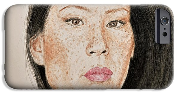 Kill Bill iPhone Cases - Lucy Liu Freckled Beauty iPhone Case by Jim Fitzpatrick