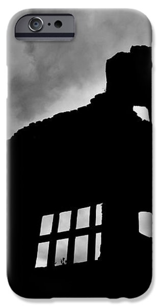 LUDLOW STORM threatening skies over the ruins of a castle spooky halloween iPhone Case by Andy Smy