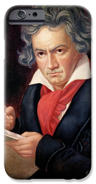 Thinking iPhone Cases - Ludwig van Beethoven Composing his Missa Solemnis iPhone Case by Joseph Carl Stieler