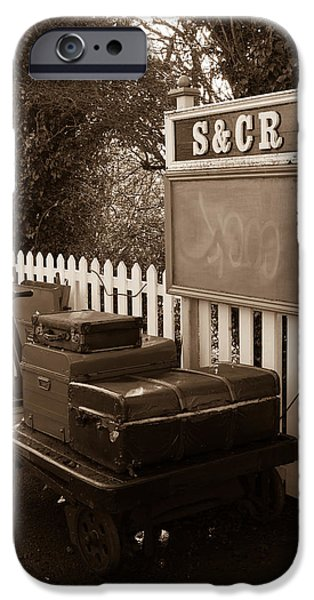 Swindon iPhone Cases - Luggage at Blunsdon Station iPhone Case by Steven Sexton