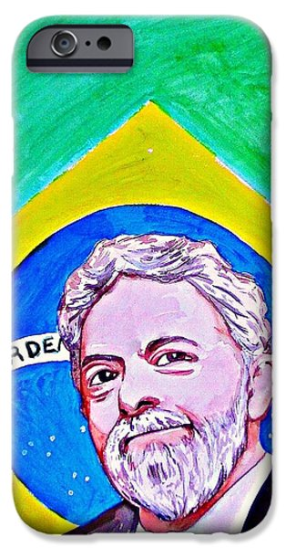President iPhone Cases - Luiz Inacio Lula De Silva 2010 iPhone Case by Ken Higgins
