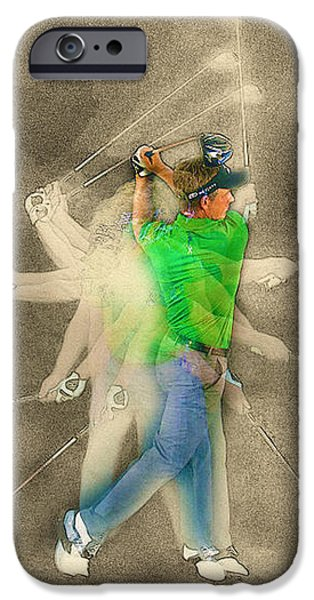 Michelle iPhone Cases - Luke Donald of England swings his driver in a studio portrait iPhone Case by Don Kuing