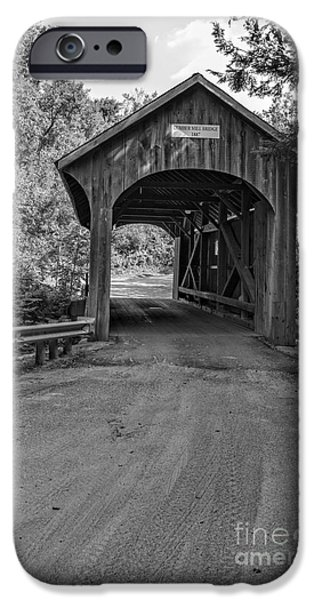 Covered Bridge iPhone Cases - Lumber Mill Bridge Belvidere Vermont iPhone Case by Edward Fielding