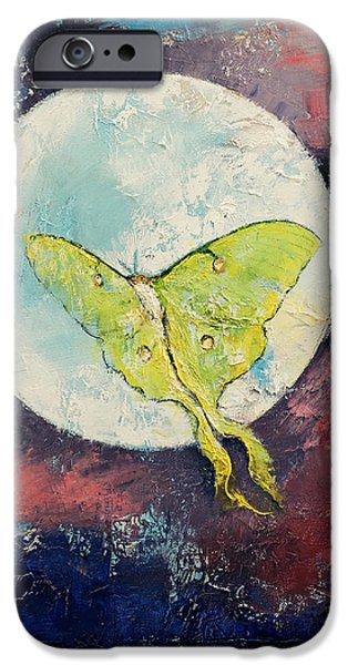 Moth iPhone Cases - Luna Moth iPhone Case by Michael Creese