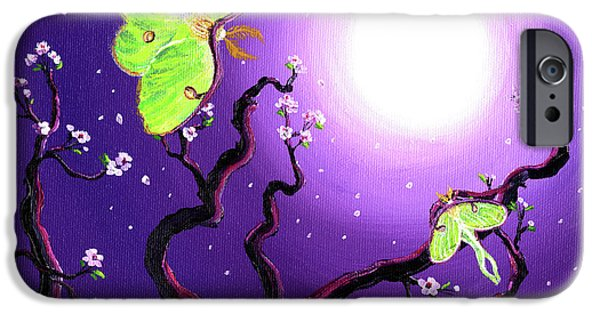Cherry Blossoms iPhone Cases - Luna Moths in Moonlight iPhone Case by Laura Iverson
