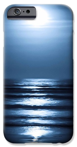 Midnight Blue iPhone Cases - Lunar Dreams iPhone Case by DigiArt Diaries by Vicky B Fuller
