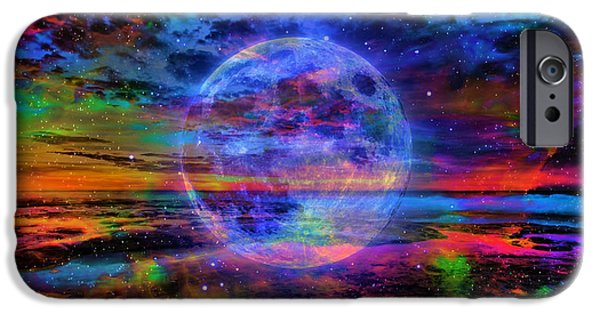 Sea iPhone Cases - Lunar Visit to a Starry Beach iPhone Case by Ron Fleishman