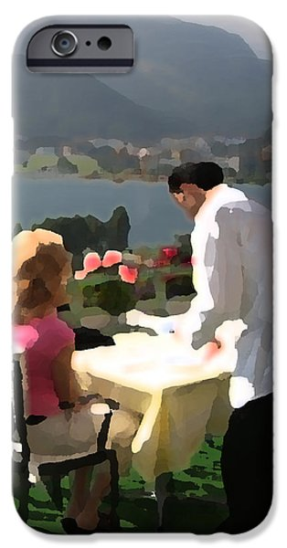 Waiter Digital iPhone Cases - Lunch on the Terrace iPhone Case by Carl Purcell