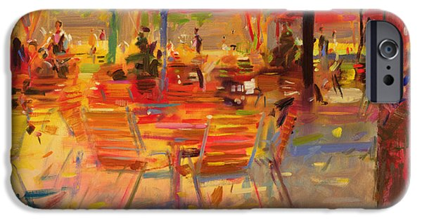 Waiter Paintings iPhone Cases - Lunch on the Terrace iPhone Case by Peter Graham