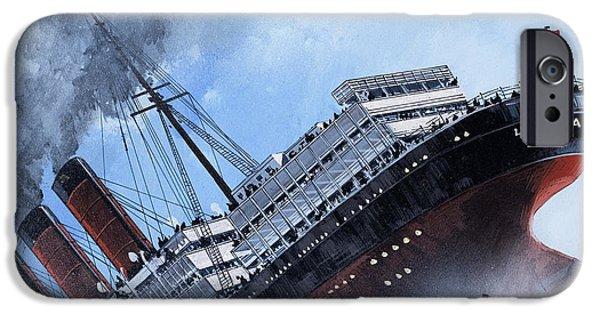Wwi Paintings iPhone Cases - Lusitania iPhone Case by Mike Tregenza