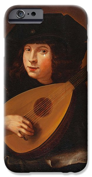 Lute Paintings iPhone Cases - Lute Player iPhone Case by Celestial Images