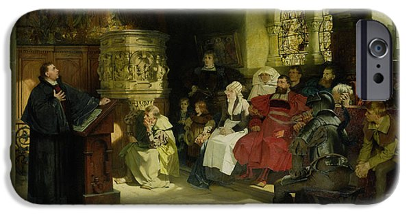 Bible Paintings iPhone Cases - Luther Preaches using his Bible Translation while Imprisoned at Wartburg iPhone Case by Hugo Vogel