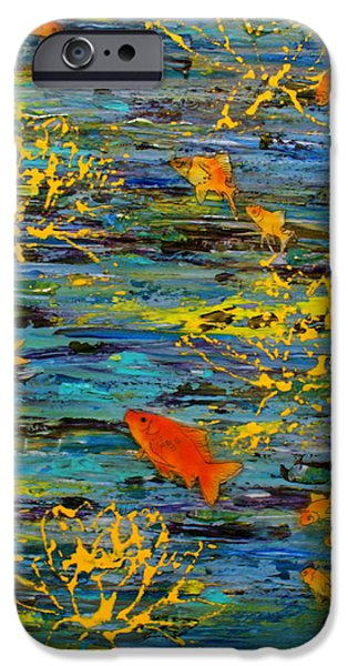 Goldfish Mixed Media iPhone Cases - Lux iPhone Case by D Renee Wilson