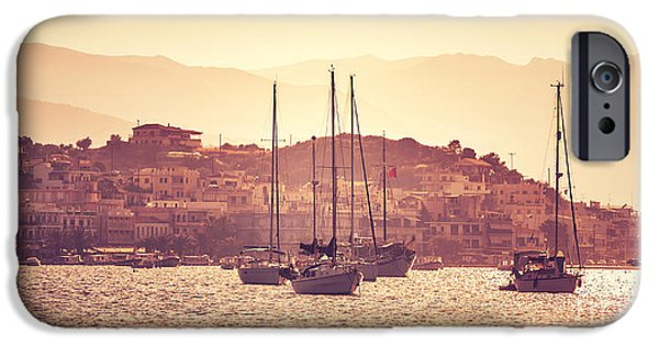 Village iPhone Cases - Luxury sail boats in sunset iPhone Case by Anna Omelchenko