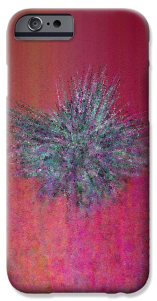 Abstractions iPhone Cases - Lychee tassel against red and orange iPhone Case by Steven Harry Markowitz
