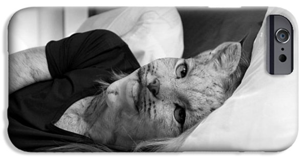 Bobcats Pyrography iPhone Cases - Lynxwoman iPhone Case by Mariah Allen