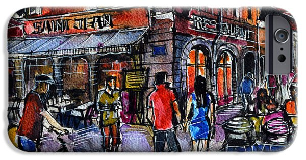 Facade iPhone Cases - LYON CITYSCAPE - STREET SCENE #03 - Rue Saint Jean iPhone Case by Mona Edulesco