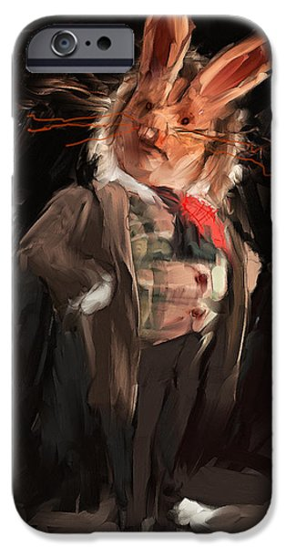 Alice In Wonderland Digital iPhone Cases - M. Lapin iPhone Case by H James Hoff