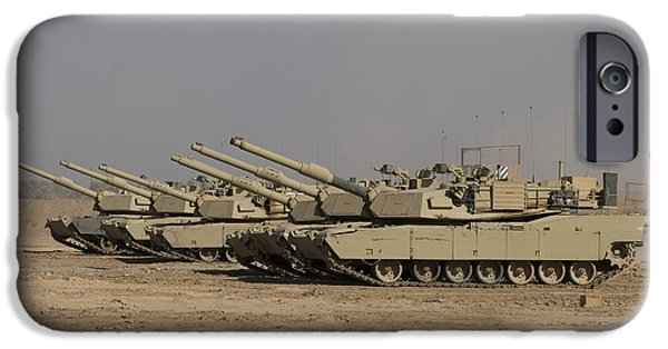Iraq iPhone Cases - M1 Abrams Tanks At Camp Warhorse iPhone Case by Terry Moore