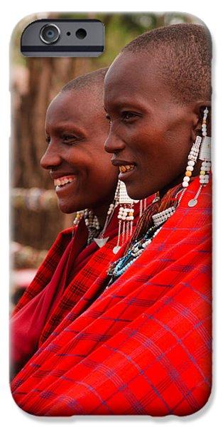Ngorongoro Crater iPhone Cases - Maasai Women iPhone Case by Adam Romanowicz
