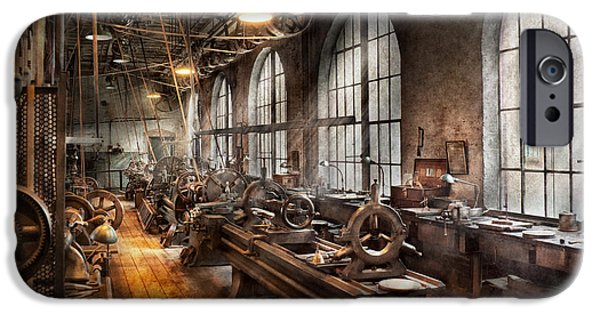 Suburbanscenes iPhone Cases - Machinist - A room full of Lathes  iPhone Case by Mike Savad