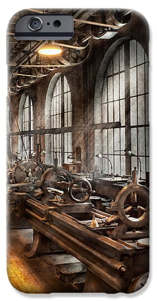 Machinist - A room full of Lathes  iPhone Case by Mike Savad