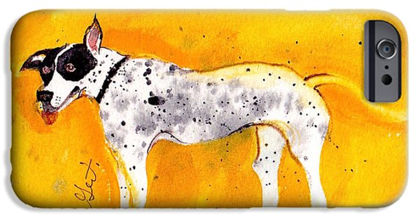 Noahs Ark Paintings iPhone Cases - Mack the Pit/Dalmatian iPhone Case by Gertrude Palmer