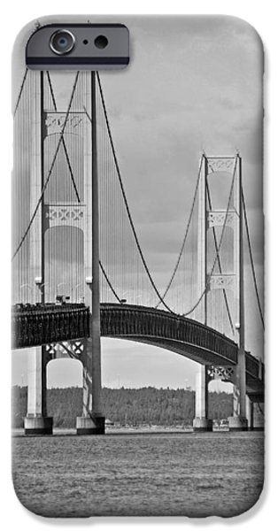 Strong America iPhone Cases - Mackinac Bridge 6111 iPhone Case by Michael Peychich