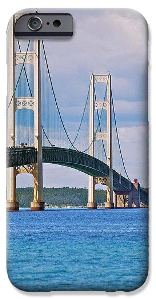 Mackinac Bridge iPhone Case by Michael Peychich