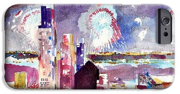 4th July Paintings iPhone Cases - Macys New York Fireworks iPhone Case by Nancy Wilt