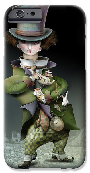 Alice In Wonderland iPhone Cases - Mad Hatter iPhone Case by Russel Ball