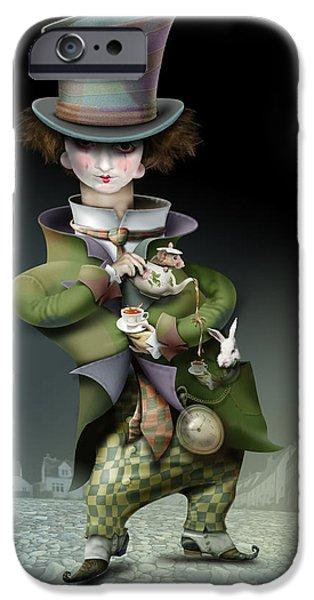 Mad Hatter iPhone Cases - Mad Hatter iPhone Case by Russel Ball