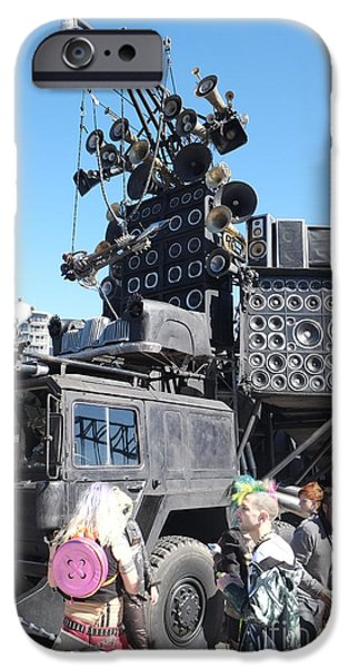 Fury iPhone Cases - Mad Max Fury Road and the Doofwagon Move into Sydney iPhone Case by Martin Berry