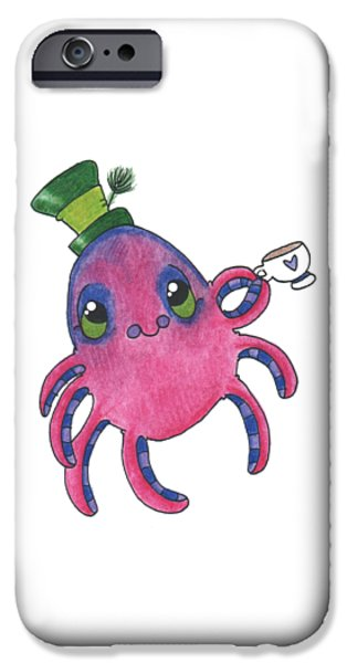 Tea Party iPhone Cases - Mad Tea Party octopus iPhone Case by Rachel Huddleston