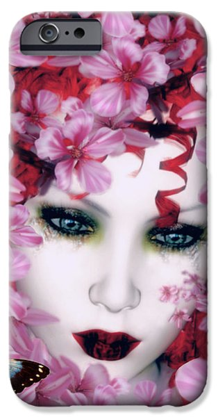 Lips iPhone Cases - Madame Butterfly iPhone Case by Shanina Conway