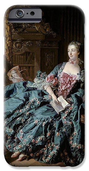 Ruler iPhone Cases - Madame de Pompadour iPhone Case by Francois Boucher