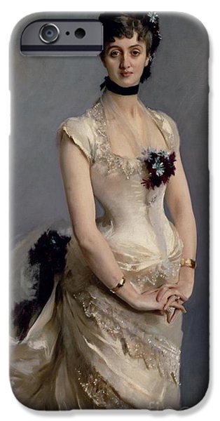 1856 iPhone Cases - Madame Paul Poirson iPhone Case by John Singer Sargent
