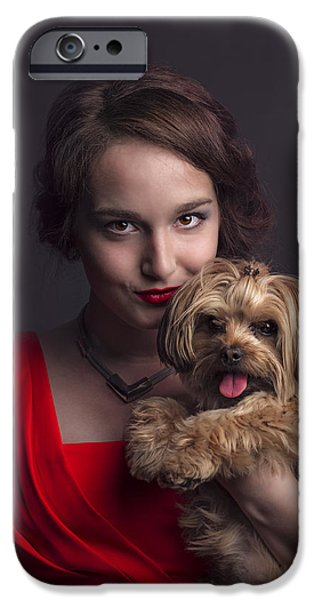 Puppies iPhone Cases - Madame with Yorky  iPhone Case by Peter Lakomy