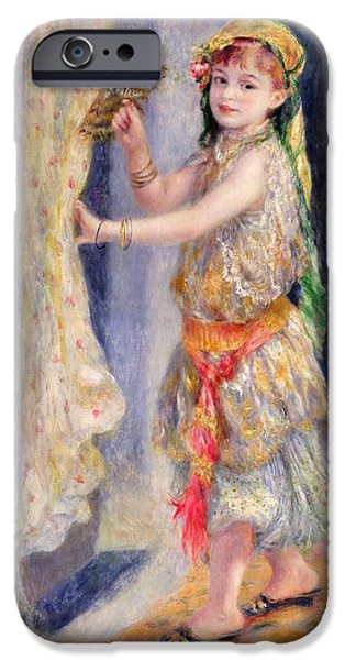 Little Girl iPhone Cases - Mademoiselle Fleury in Algerian Costume iPhone Case by Pierre Auguste Renoir