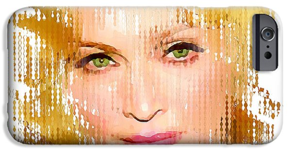 Madonna Digital Art iPhone Cases - Madonna Abstract 1 iPhone Case by Yury Malkov