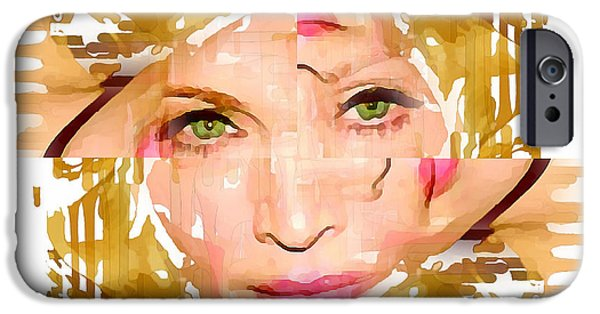 Madonna Digital Art iPhone Cases - Madonna Abstract 2 iPhone Case by Yury Malkov