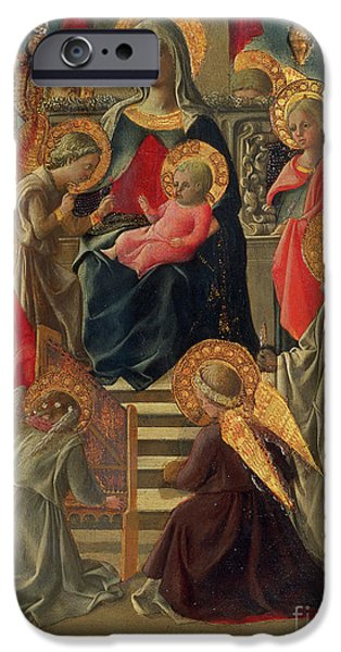 Ruler iPhone Cases - Madonna and Child enthroned with Angels and Saints iPhone Case by Fra Filippo Lippi