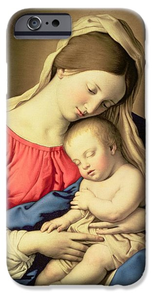 Nativity Paintings iPhone Cases - Madonna and Child iPhone Case by Il Sassoferrato