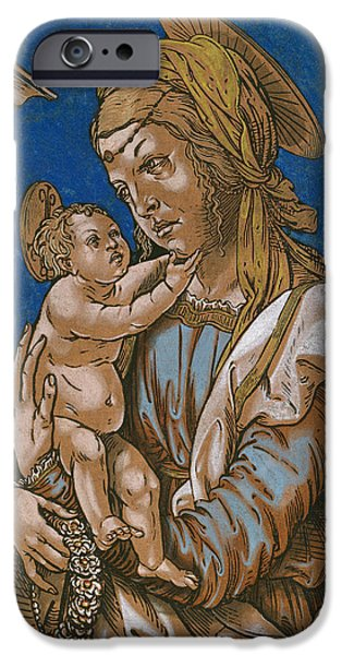 Christ Artwork iPhone Cases - Madonna and Child under an arch iPhone Case by Hans Burgkmair