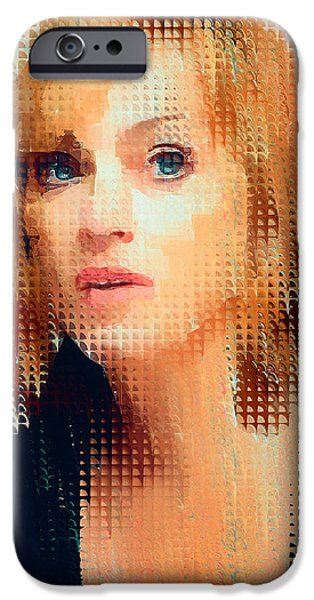 Madonna Digital Art iPhone Cases - Madonna Dots Abstract 2 iPhone Case by Yury Malkov