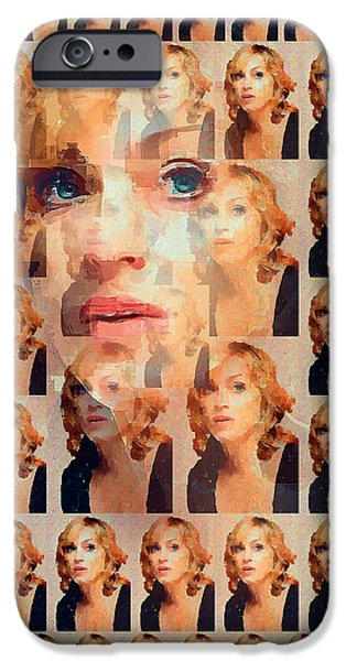Madonna Digital Art iPhone Cases - Madonna Faces Abstract iPhone Case by Yury Malkov