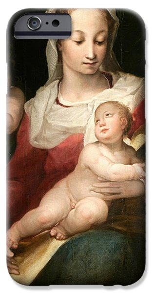 Young Paintings iPhone Cases - Madonna with Child and Young Saint John iPhone Case by Alessandro Casolani