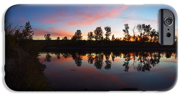 Red Rock iPhone Cases - Magenta Sunset Over Boise River in Boise Idaho iPhone Case by Vishwanath Bhat