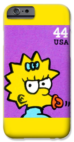 Canadian Culture Paintings iPhone Cases - Maggie Simpson iPhone Case by Lanjee Chee
